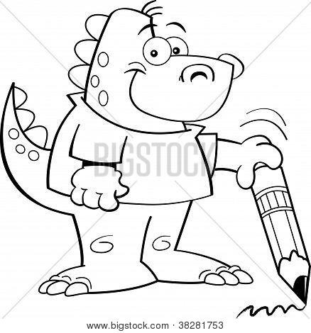 Dinosaur holding a pencil
