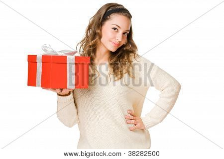 Young Beauty Holding Gift Boxing.