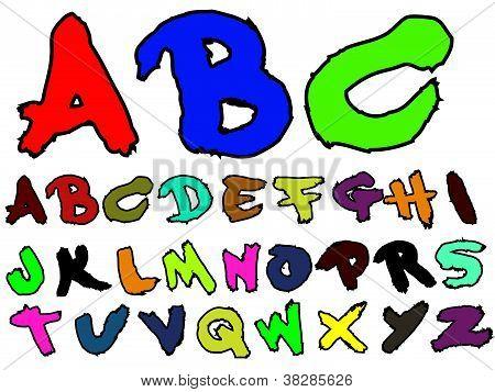 Alphabet Hand Drawn Fat Brush effect