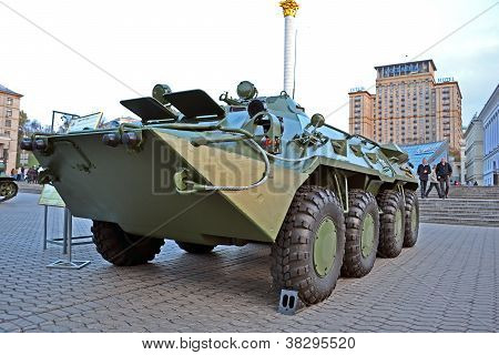 Kiev, Ukraine - Nov 01: Military Cars Exhibition On Kreshatik Street In Kiev, Ukraine On November 01
