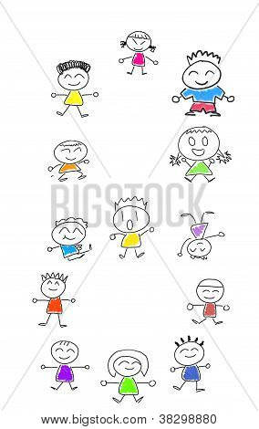 Cartoon Numbers 8 And Many Children