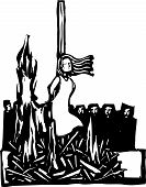 stock photo of adultery  - Expressionist woodcut style WomanSaint or Witch being burned at the stake being watched by a crowd - JPG