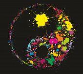 Grunge Yin Yan Symbol Made Of Colourful Paint Splashes On Black Background poster