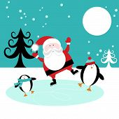 stock photo of cheeky  - Christmas illustration with cheeky Santa and penguin characters skating on ice - JPG