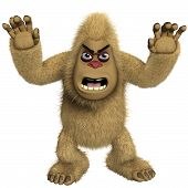 stock photo of x-files  - 3 d cartoon halloween horror brown yeti - JPG