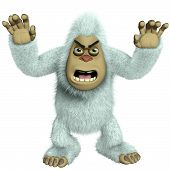 foto of bigfoot  - 3 d cartoon cute white bigfoot toy yeti - JPG