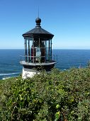 stock photo of mear  - Lighthous at Cape Meares on the Oregon Coast - JPG