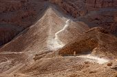 image of masada  - The way to the Masada fortress in Israel - JPG