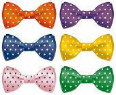 image of poka dot  - A set of polka dot bow ties - JPG