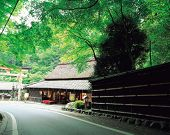 Traditional Japanese Building Near Road poster