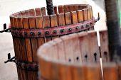 pic of wine-press  - Color detail of a wine manual grape crushing machine - JPG