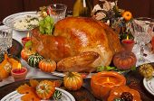 picture of turkey dinner  - Thanksgiving celebration and dinner with a delicious turkey - JPG