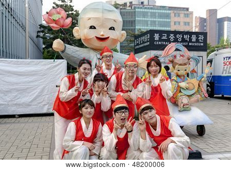 SEOUL KOREA MAY 12:People in traditional clothes take picture before participate Culture Performance for celebration of Lotus Lantern Festival at Jogyesa Temple on may 12 2013 Seoul, South Korea.