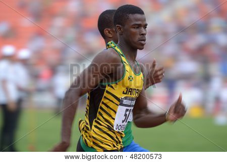 DONETSK, UKRAINE - JULY 13: Michael O'Hara of Jamaica win the heat in semi-final on 200 metres during 8th IAAF World Youth Championships in Donetsk, Ukraine on July 13, 2013