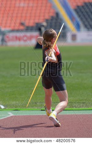 DONETSK, UKRAINE - JULY 13: Celina Leffler of Germany competes in the javelin throw in Heptathlon girls during 8th IAAF World Youth Championships in Donetsk, Ukraine on July 13, 2013