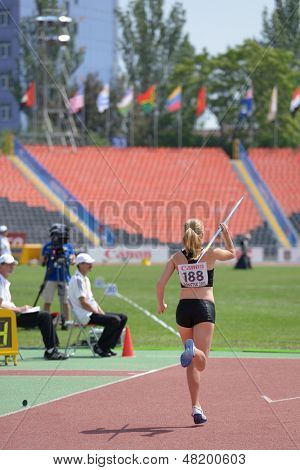 DONETSK, UKRAINE - JULY 13: Robyn Buckingham of Canada competes in the javelin throw in Heptathlon girls during 8th IAAF World Youth Championships in Donetsk, Ukraine on July 13, 2013