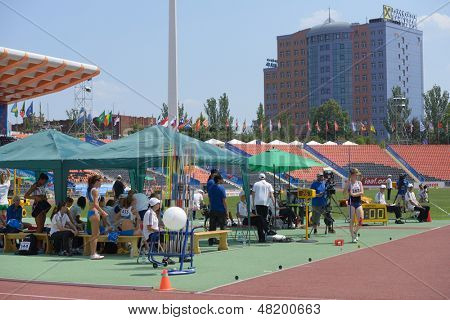 DONETSK, UKRAINE - JULY 13: Girls competes in the javelin throw in Heptathlon girls during 8th IAAF World Youth Championships in Donetsk, Ukraine on July 13, 2013