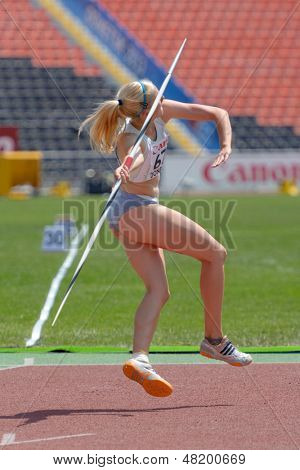 DONETSK, UKRAINE - JULY 13: Stasa Trajkovic of Slovenia competes in the javelin throw in Heptathlon girls during 8th IAAF World Youth Championships in Donetsk, Ukraine on July 13, 2013