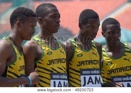 DONETSK, UKRAINE - JULY 13: Team Jamaica in the boys medley relay win the heat during 8th IAAF World Youth Championships in Donetsk, Ukraine on July 13, 2013