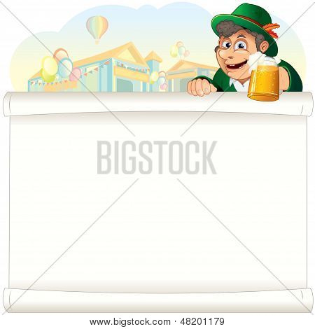 Bavarian Guy with Beer on Oktoberfest Background