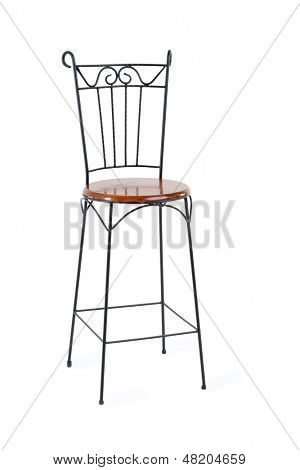 High wrought-iron chair with wooden seat isolated on white background.
