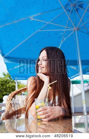 Beautiful Girl In Summer Cafe