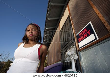 African american Woman In Front Of House