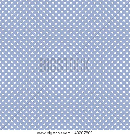 Seamless vector pattern with white polka dots on a sweet pastel baby boy blue background