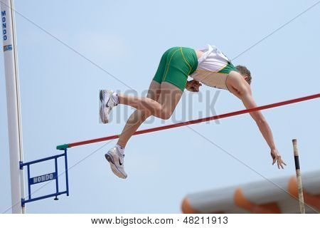DONETSK, UKRAINE - JULY 12: Henri Brown of Australia competes in Pole Vault during 8th IAAF World Youth Championships in Donetsk, Ukraine on July 12, 2013