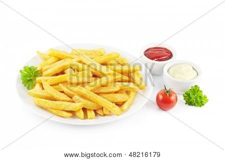 French fries on a plate with ketchup and mayonnaise on white