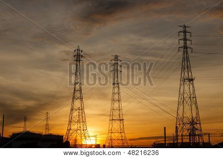 Electric Pylons At Sunrise.