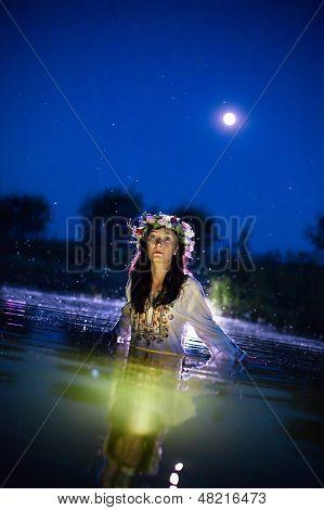 Beautiful Woman In The Night River