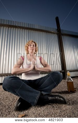 Smoking And Drinking Woman Meditating