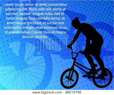 stunt bicyclist on the abstract background