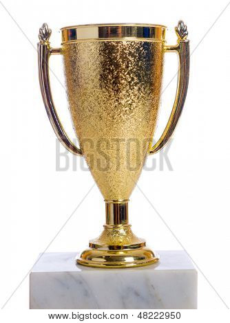 A gold trophy on a marble base with a white background
