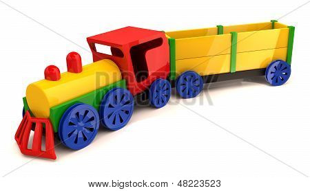 Toy Train. 3D Model Isolated On The White Background