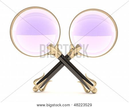 Two Magnifying Glass Vintage. 3D Model Isolated On White