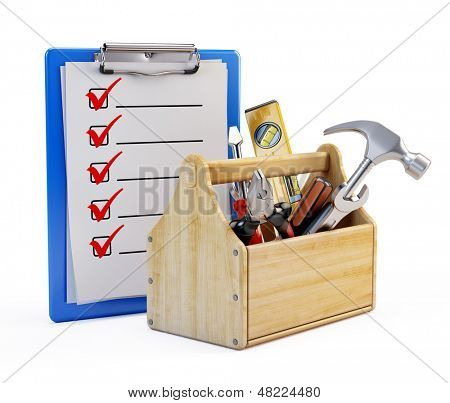 Clipboard and toolbox with tools