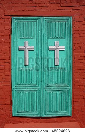 The door to the Church of St. Nikita's great martyr. Russia, Vladimir region, Yuriev-Polsky