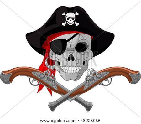 Pirate Skull and crossed guns