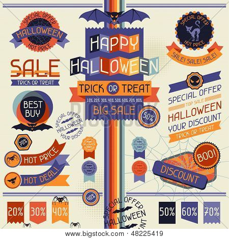 Halloween sale labels and stickers.