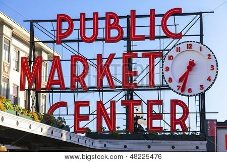 Seattle Public Market Center Schilder, Pike Place Market, Seattle WA, USA