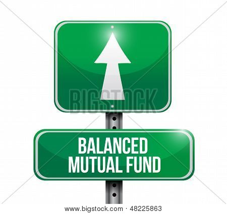 Balanced Mutual Funds Road Sign Illustrations