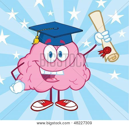 Brain Graduate Holding up A Diploma