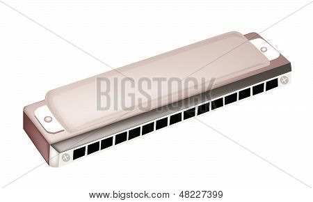 A Blues Harmonica Isolated On White Background