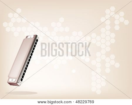 A Blues Harmonica On Light Brown Background