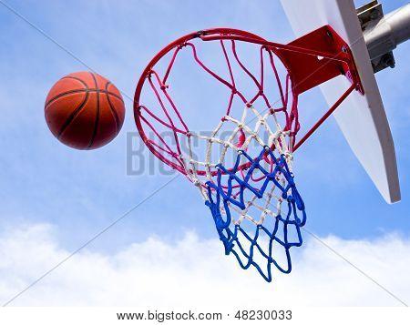 Basketball shot on net
