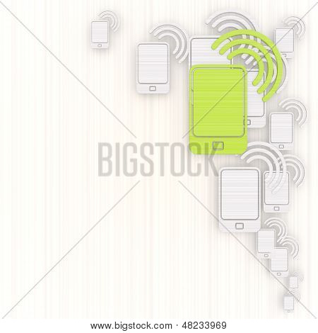 3D Render Of A Decorative Smart Phone Background With Pictogram