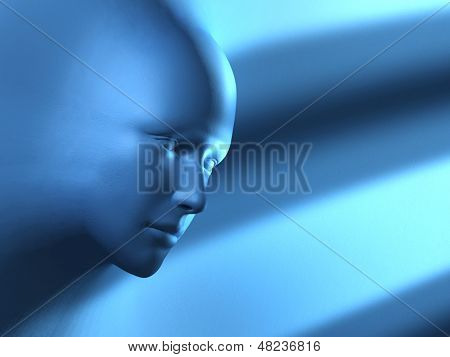 A mysterious head emerging from a blue surface. Digital illustration.