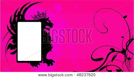 heraldic winged lion copysapce background